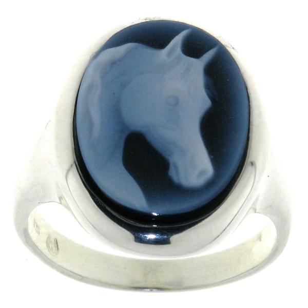 Ring Gemme Achat 16 x 12 mm mit ausdrucksstarkem Pferdekopf
