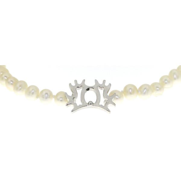 Perlcollier echte weiße Perlen mit Trakehner-Brandzeichen massiv echt Silber
