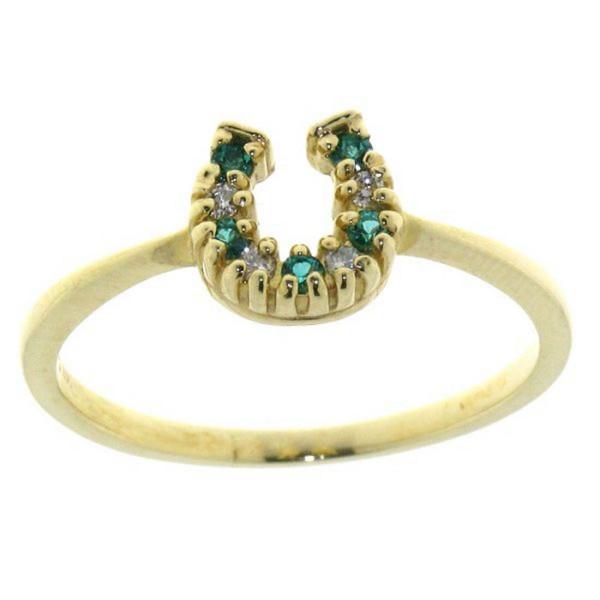 Ring mit kleinem Diamant/Smaragd Hufeisen
