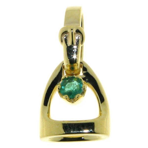 Anhänger Steigbügel klein mit Bügelriemenöse und Smaragd