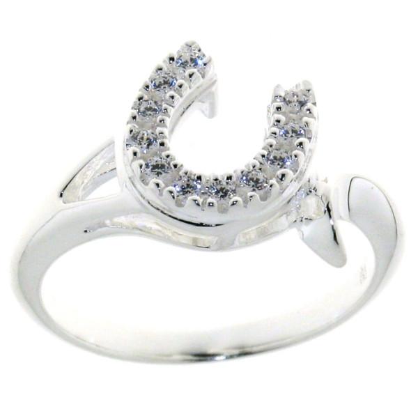Ring mit schräg versetztem Zirkonia-Hufeisen massiv echt Silber