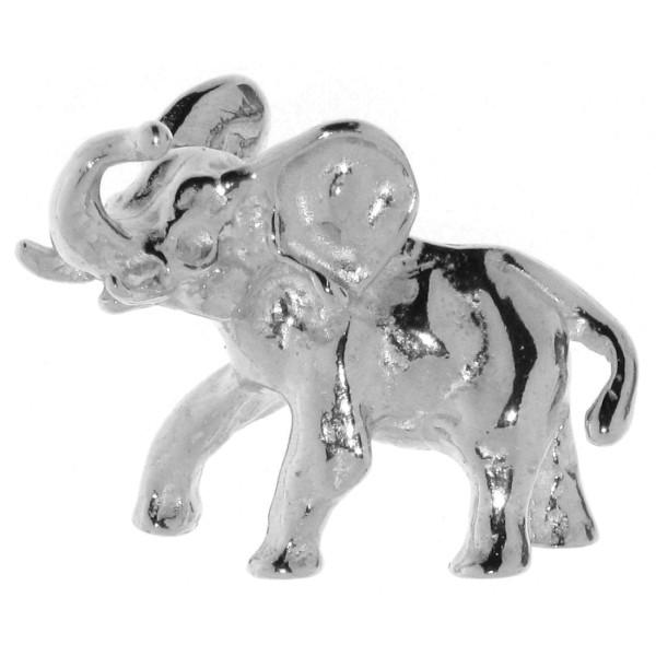 Anhänger Elefant schwer massiv echt Silber mit erhobenem Rüssel