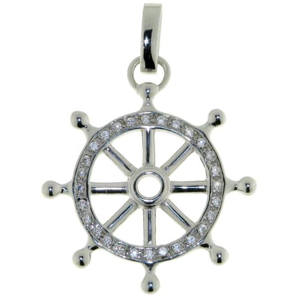 Anhänger Schiff-Steuerrad Yacht Bootssteuerrad massiv echt Silber mit Zirkonia