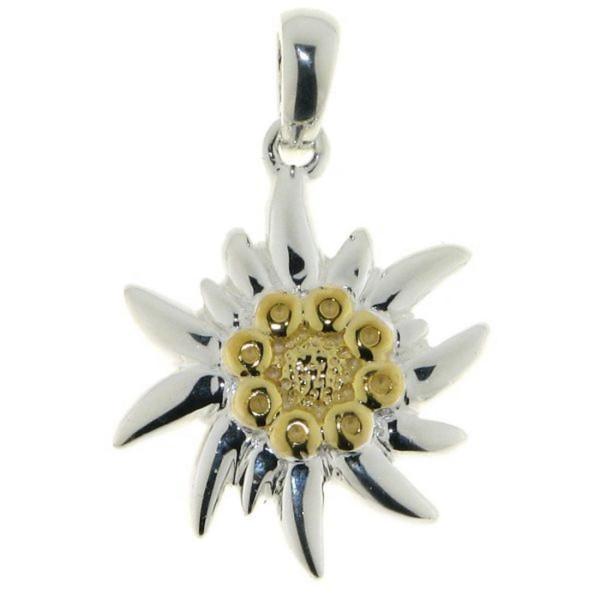 Anhänger Edelweiß-Blüte Edelweiss massiv echt Silber Fruchtstände goldplattiert