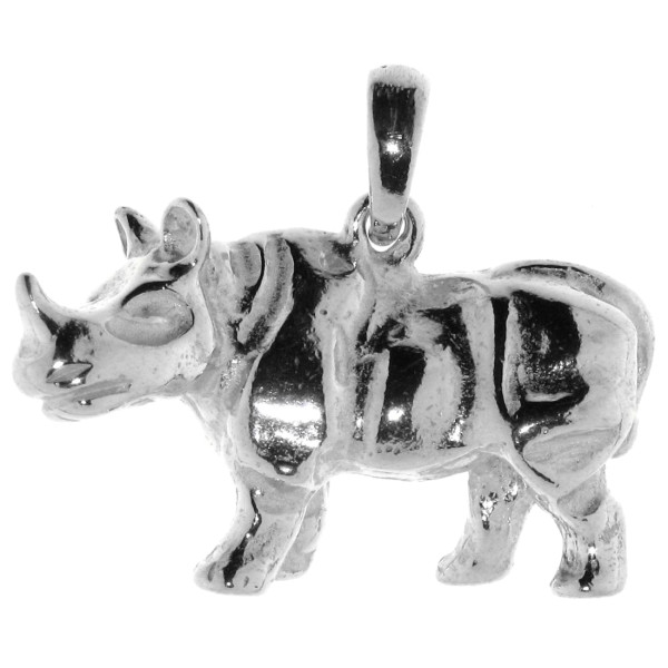 Anhänger Nashorn Rhino massiv groß schwer echt Silber