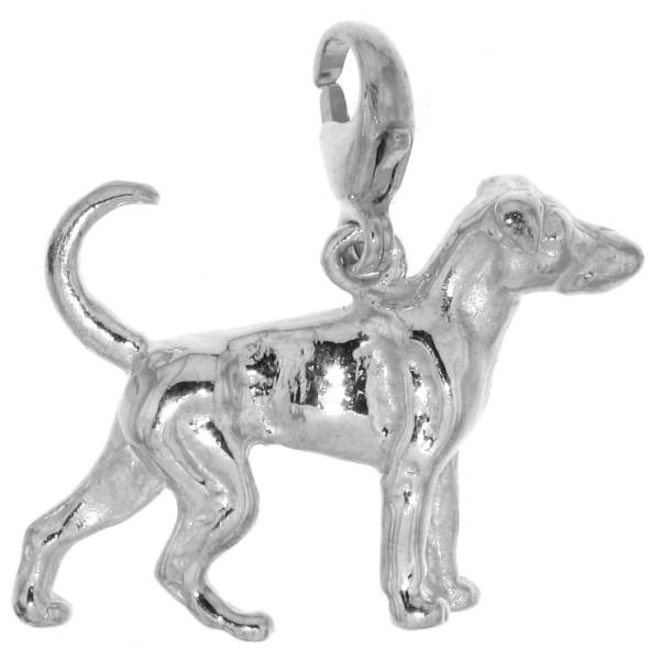 Charm Dobermann unkupiert Hunderasse massiv echt Silber