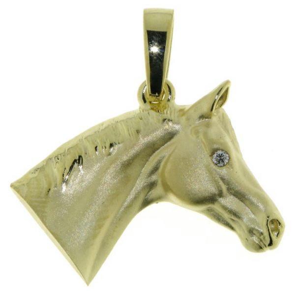 Anhänger Pferdekopf klassisch schwer massiv echt Gold mattiert - poliert