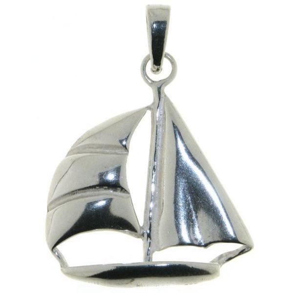 Anhänger Segelschiff Segelboot größer echt Silber