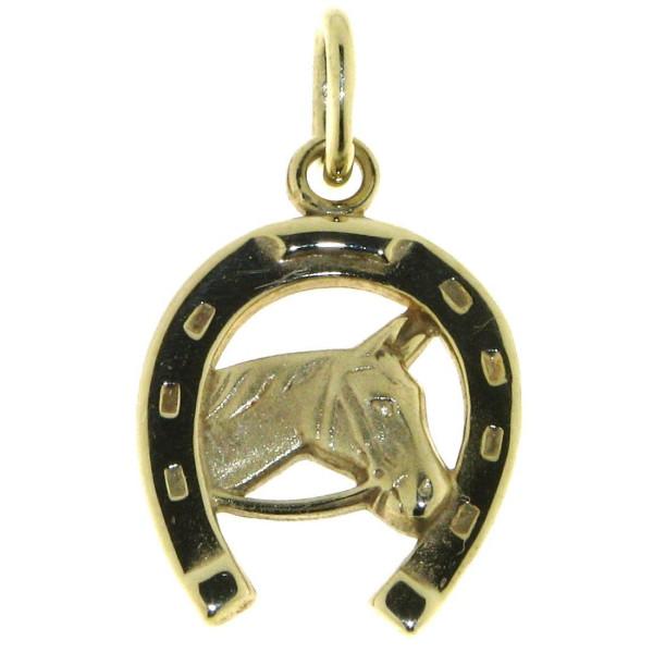 Anhänger Pferdekopf im Hufeisen massiv Gold mattiert - poliert