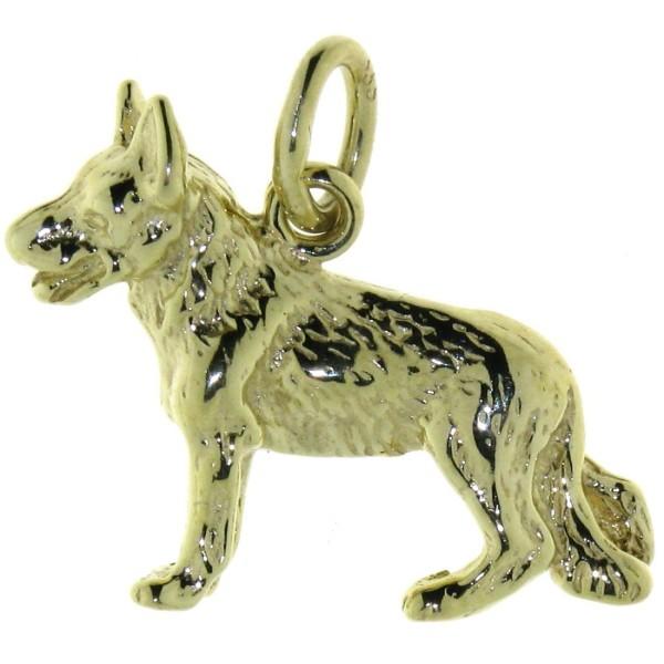 Anhänger Schäferhund Hunderasse massiv echt Gold