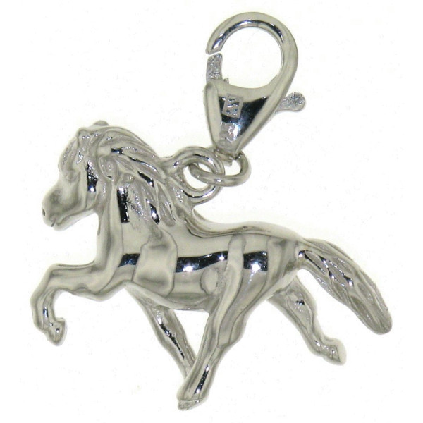 Charm Island-Pferd Isländer beim Tölten massiv echt Silber