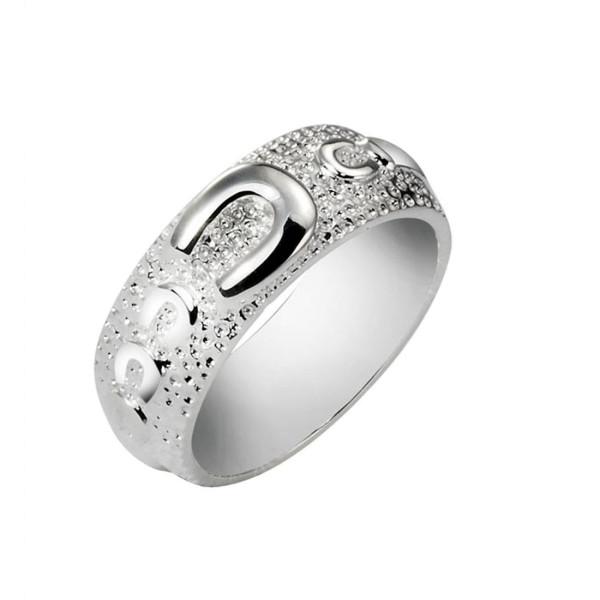 Ring mit einem großen und 4 kleinen Hufeisen schwer massiv echt Silber - Hufeisen-Bandring