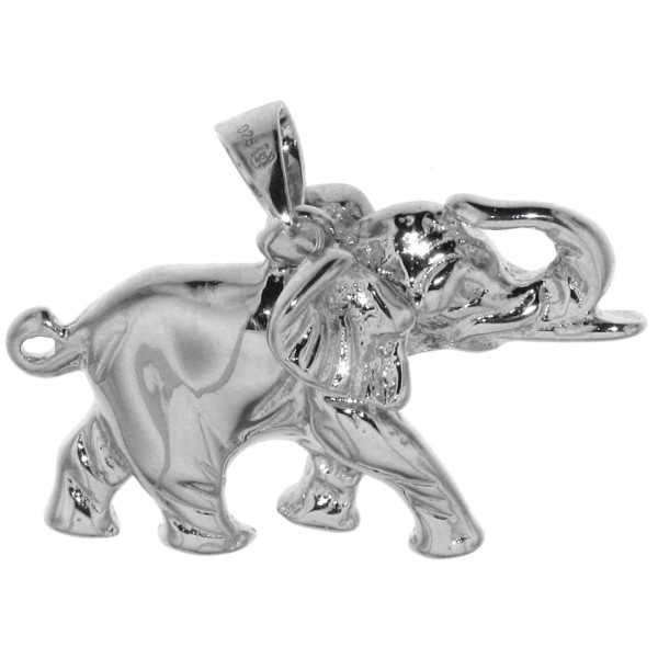 Anhänger Elefant massiv echt Silber erhobener Rüssel Glücksbringer