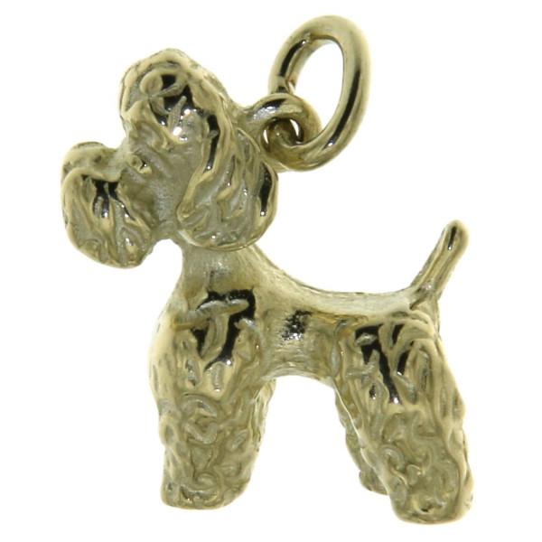 Anhänger Pudel Pudelchen Hunderasse massiv echt Gold