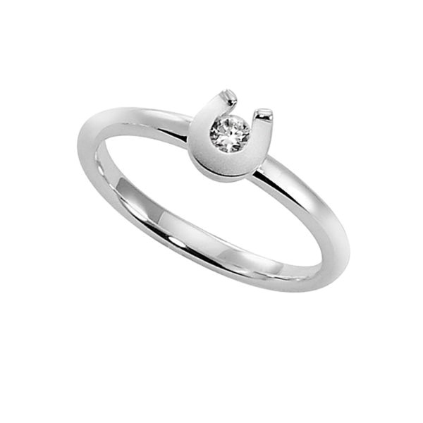 Ring modernes Hufeisen mattiert-poliert mit Zirkonia massiv echt Silber