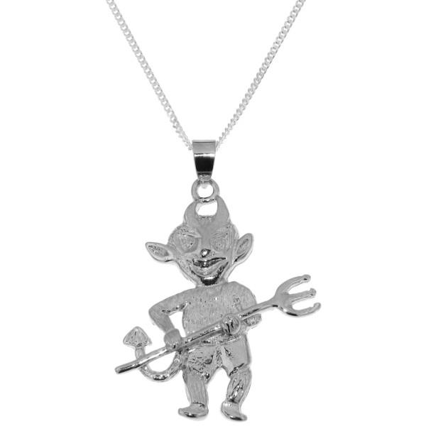 Anhänger Teufelchen - kleiner Teufel massiv echt Silber mit Kette - Sonderangebot