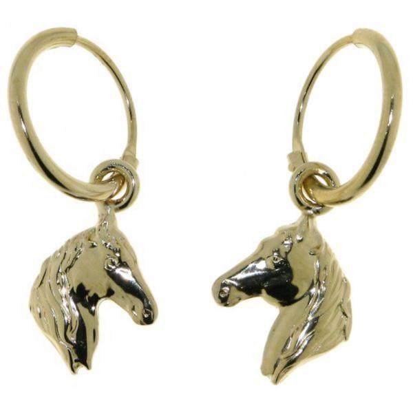 Ohrcreolen Pferdeköpfe massiv echt Silber goldplattiert