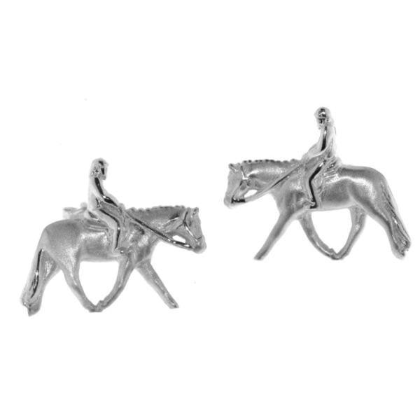 Ohrstecker Reiter auf Pferd English Pleasure massiv echt Silber mattiert - poliert