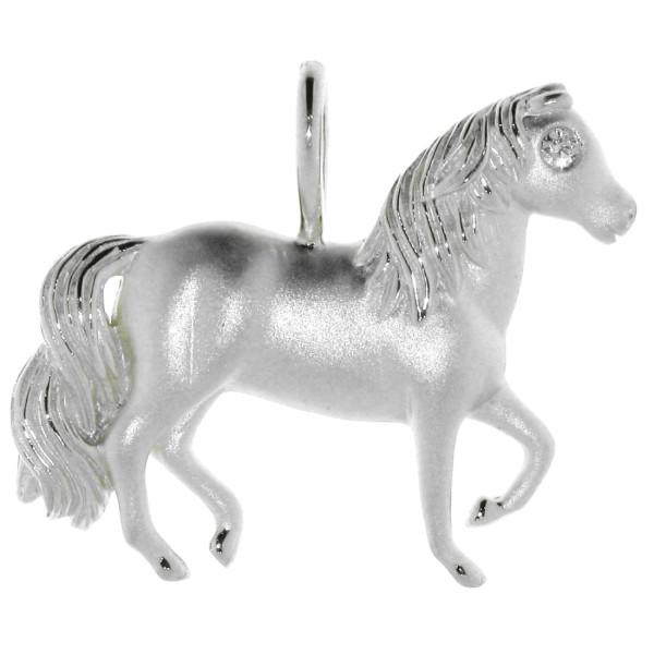 Anhänger Pferd mit Diamantauge Weißgold mattiert - poliert