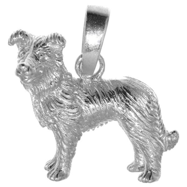 Anhänger Border-Collie Hunderasse massiv echt Silber