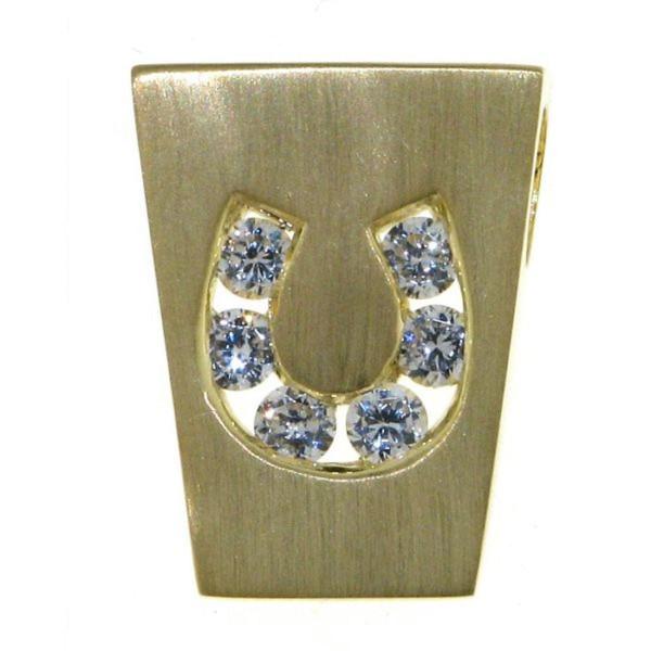 Anhänger modernes Hufeisen mit 6 Zirkoniasteinen echt Silber mattiert goldplattiert