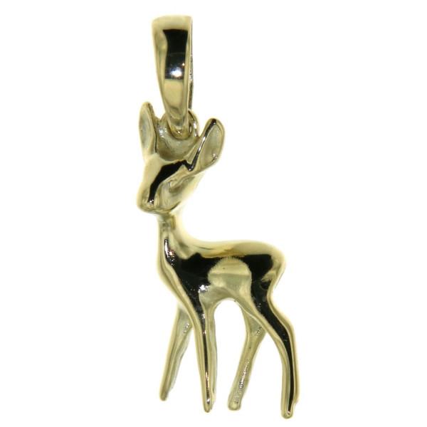 Anhänger Reh Bambi massiv echt Gold