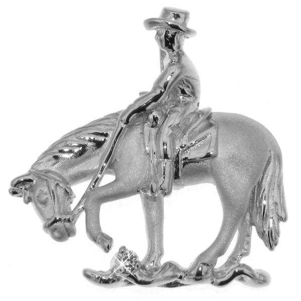 Anhänger Reiter auf Pferd beim Trail Riding echt Silber mattiert - poliert