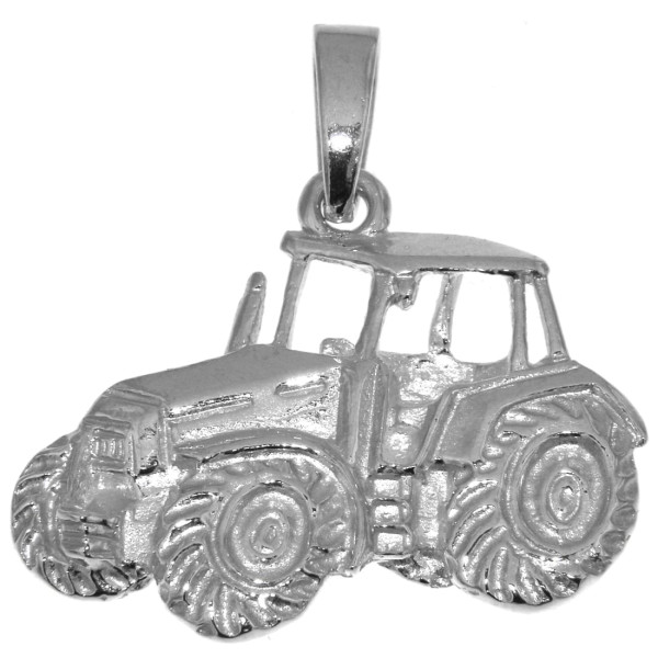 Anhänger Traktor Schlepper Bulldog groß massiv echt Silber Landwirtschaftssymbol