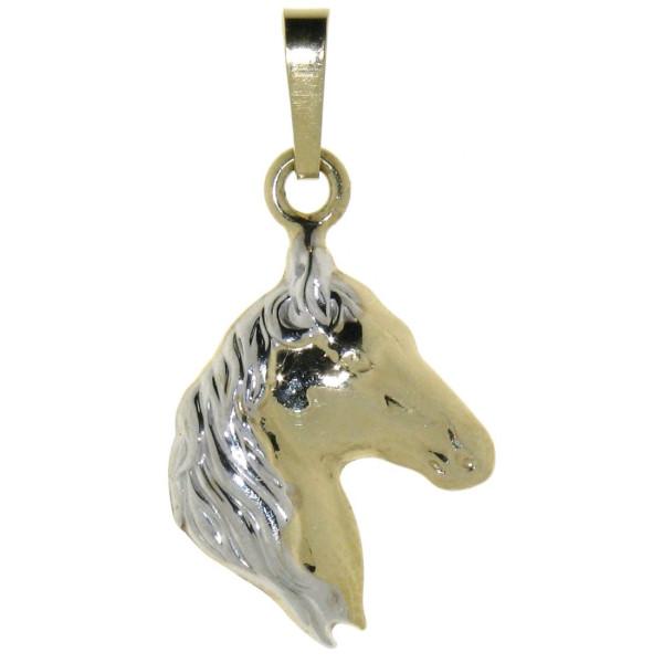 Anhänger Pferdekopf klassisch massiv echt Silber bicolor