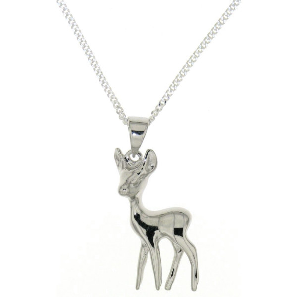 Anhänger Reh Bambi massiv mit Kette echt Silber - Sonderpreis