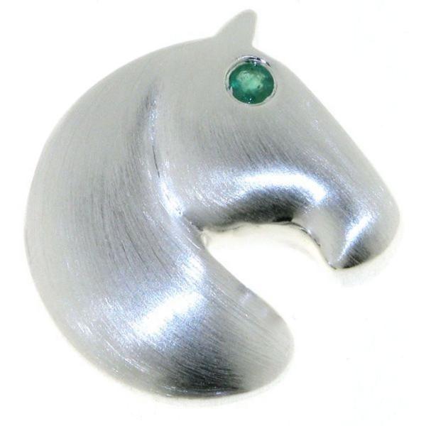 Anhänger Pferdekopf modern echt Silber mattiert mit Smaragd Auge