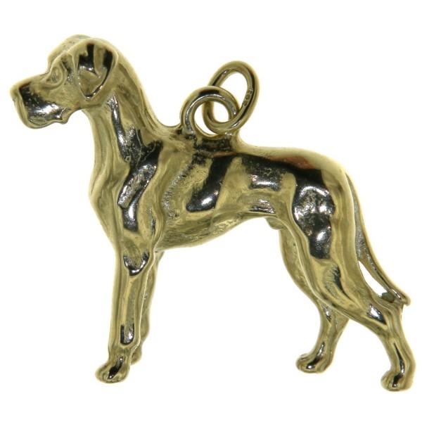 Anhänger Deutsche Dogge Hund groß schwer massiv echt Gold