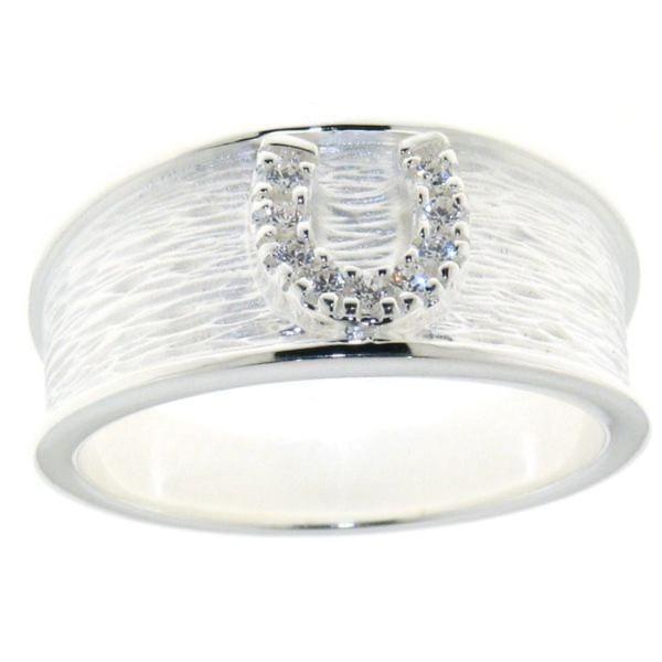 Breiter Ring massiv echt Silber eismatt - poliert mit aufgesetztem Zirkoniahufeisen