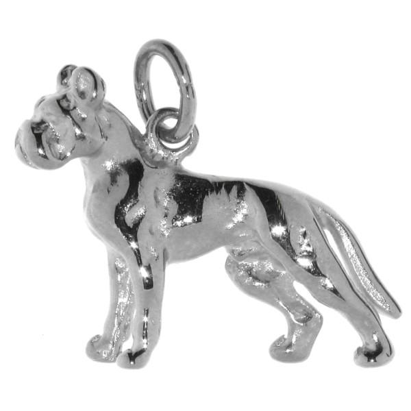 Anhänger Boxer Hunderasse mit unkupierter Rute massiv echt Silber