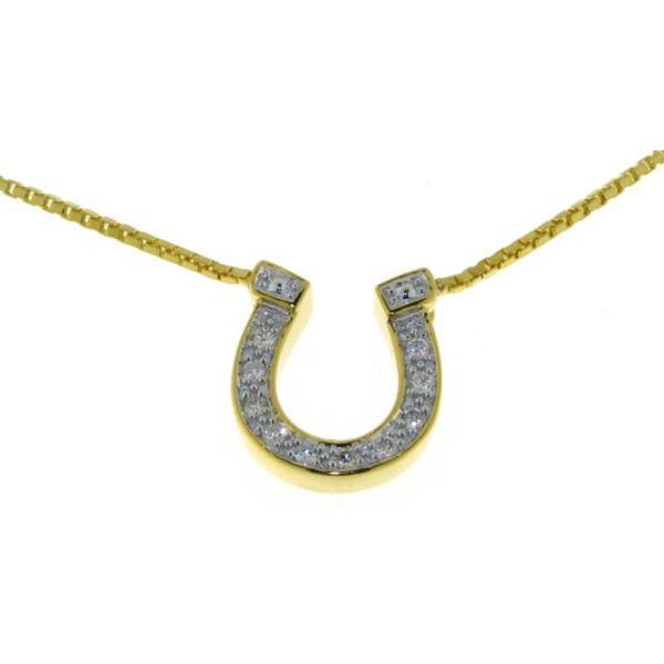 Collier Hufeisen mit 10 Diamanten und Veneziakette