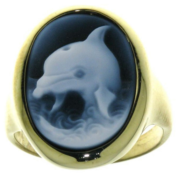 Ring Gemme Achat Delphin 18 x 13 mm Kamee