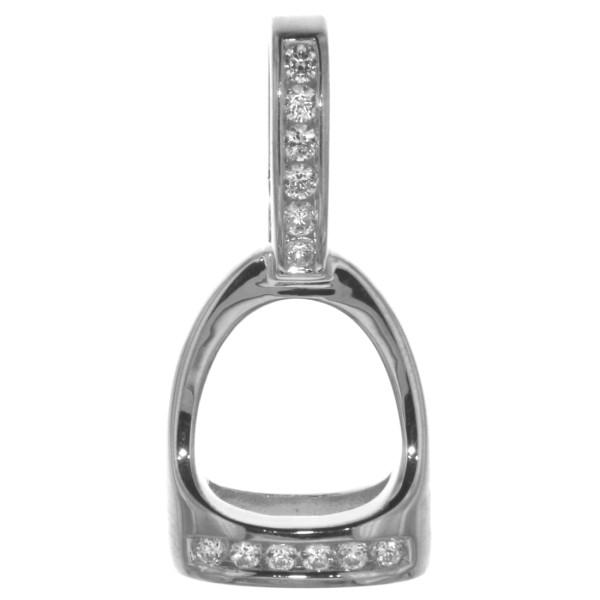 Anhänger Steigbügel massiv echt Silber mit 12 Zirkoniasteinen mittelgroß
