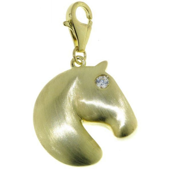 Charm Pferdekopf modern echt Silber mattiert goldplattiert mit Zirkonia Auge