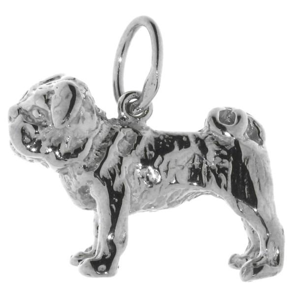 Anhänger englische Bulldogge Hunderasse massiv echt Silber