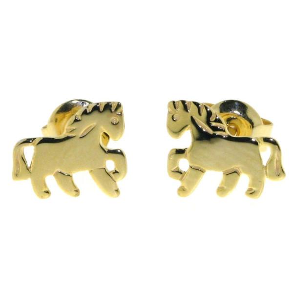 Ohrstecker Pony Pferdchen massiv echt Silber goldplattiert