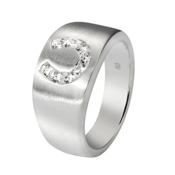 Ring mattiert mit eingelegtem Zirkonia-Hufeisen massiv echt Silber