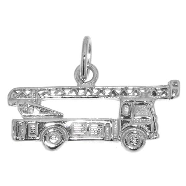Anhänger Feuerwehrauto Feuerwehr-Fahrzeug Löschfahrzeug massiv echt Silber